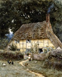 On The Brook Road, Near Witley - Helen Allingham Prints - Easyart.com