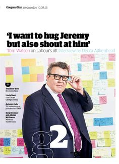 Guardian g2 cover: Tom Watson #editorialdesign #newspaperdesign #graphicdesign #design #theguardian