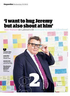 Guardian g2 cover: Tom Watson #editorialdesign #newspaperdesign #graphicdesign #design #theguardian
