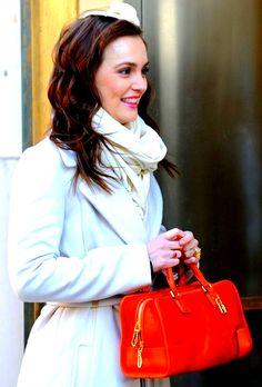 Blair Waldorf -   Diane Von Furstenberg coat.  Loewe bag.  Johanna Braitbart hairpiece.