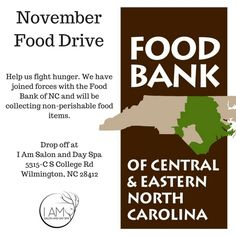 Every month we all work together to give back! November we are having a food drive so drop off your non-perishables.  #whatsupwilmington
