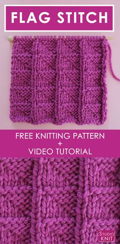 I'm in love with the graphic texture from this simple knit stitch pattern. Learn How to Knit the FLAG Stitch with Free Knitting Pattern Video Tutorial by Studio Knit. Knitted Mittens Pattern, Dishcloth Knitting Patterns, Knitting Stiches, Knit Dishcloth, Knitting Videos, Easy Knitting, Knitting For Beginners, Knitting Projects, Knit Stitches