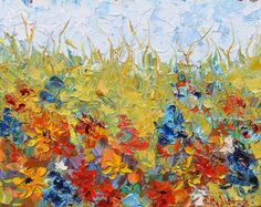 """Daily Painters Abstract Gallery: Palette Knife Flower Landscape Painting """"Grassland Flower"""" by Colorado Impressionist Judith Babcock"""