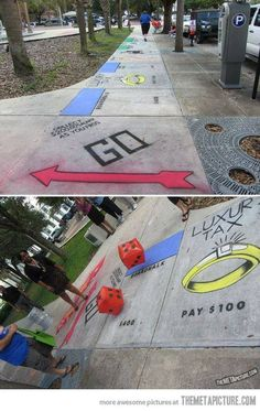 sidewalk chalk monopoly. giant. drawing. street art. dice. die. games. fun.