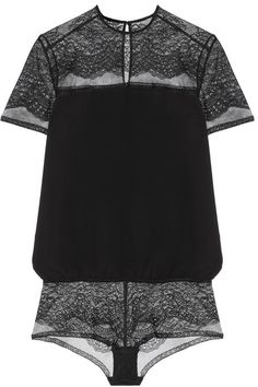 Eres | Madame lace and silk-georgette bodysuit | NET-A-PORTER.COM