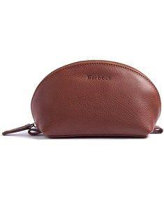 Barbour Leather Make-up Bag - Tan