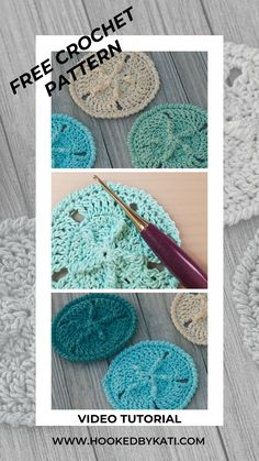 The Sand Dollar free crochet pattern from Hooked by Kati is great for cotton yarn to make summer crochet coasters. It has a variety of stitches, and the video tutorial is a great way to learn a new stitch or technique. Sand dollar coasters are a lovely ad Crochet Seashell Applique, Nautical Crochet, Scrap Yarn Crochet, Beach Crochet, Cotton Crochet, Crochet Gifts, Thread Crochet, Crochet Coaster Pattern, Crochet Motif