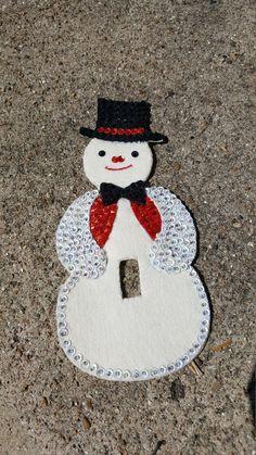 Vintage Christmas Felt Ornament Light Switch Cover Snowman