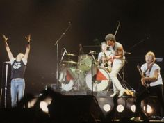 May 1982:  Rock band, 'Foreigner' playing at Wembley stadium in London.  (Photo by Hulton Archive/Getty Images)