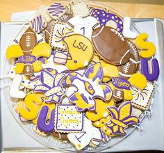 LSU cookies- Kookie Kreations by Kim Football Tailgate, Football Birthday, Football Parties, Tailgate Decorations, Football Cookies, Fall Cookies, Lsu Game, Royal Icing Cookies, Sugar Cookies