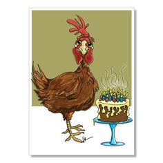 Red Chicken Birthday Card Getting Old Birthday by YoYoGreetings