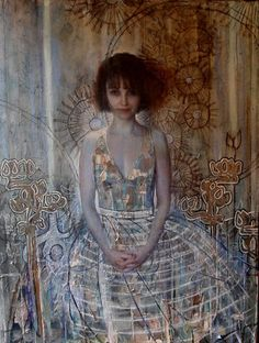 Katherine 2005 by Ann Marshall, Oil and collage on canvas