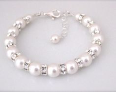 Ivory Pearl Wedding Bracelet Brides Jewelry Bridal by AMIdesigns