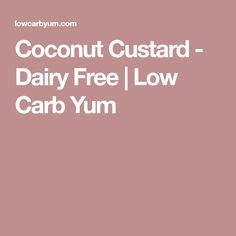 Coconut Custard - Dairy Free   Low Carb Yum