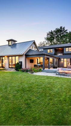 Barn House Plans, Dream House Plans, Metal Building Homes, Building A House, Modern Farmhouse Exterior, Modern Home Exteriors, Small Modern House Exterior, Modern Lake House, Craftsman Exterior