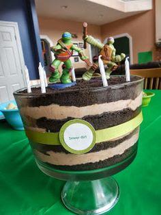 easy Ninja Turtle cake-- sewer dirt!