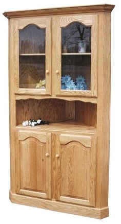 Amish Lagrange Corner Hutch Customize with numerous wood, finish, hardware options and more. Full of country style charm and fits neatly in a corner.