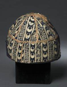 Cap with Narrow Bands, 1300s  Egypt , Mamluk period  silk over bast fibers; lampas weave, quilted, layered