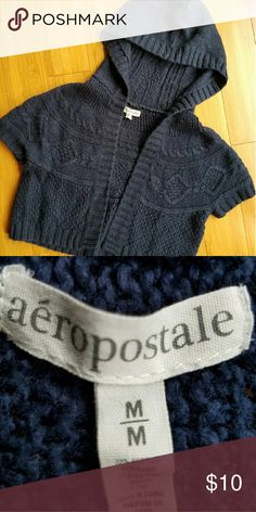 AEROPOSTALE Crop Sweater Cardigan Size M Cute crop sweater cardigan in navy blue from AEROPOSTALE.  Size Medium. Excellent condition. Freshly laundered. Smoke free pet free home. Check out my other listings to bundle and save! Aeropostale Sweaters Cardigans