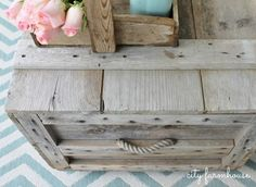 City Farmhouse How to turn a vintage crate into a charming coffee table with casters.