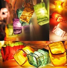 EU -Chinese Paper Lantern LED Fairy Lights By Flowerglow: Amazon.co.uk: Kitchen & Home