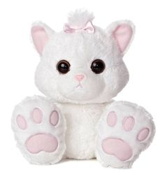 "10"" Aurora Plush Kitty Cat Taddle Toes White Kitten Stuffed Animal Toy NEW #Aurora"