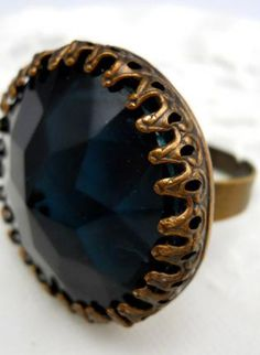 Rich and Dark Medieval Ring,  Jewelry, jewel medieval glass blue vintage, Bohemian (Boho) / Hippie