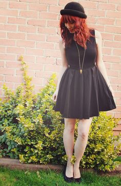i'm gonna wear that bowler hat.   and umm that black dress. sure i need both of them. asap!!!