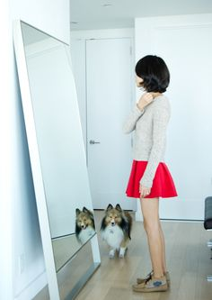 cute outfit and short hair. one day when I get the nerve to chop my hair.