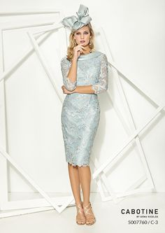 Lace mother of the bride or groom dress by Cabotine in a stunning duck egg colour with 3/4 length sleeve. Scotland, UK