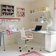 Pretty home office. An L-shaped desk is a practical choice for a dual-purpose space as it can be tucked into a corner of the room and each end of the table can be given over to a different activity, or shared by two people. Choose a pretty scheme - if you're surrounded by lovely things, you'll feel much more inspired to be creative.