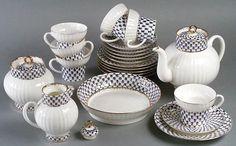 Cobalt Net Bone China Tea Set for 6   Lomonosov Russia - Factory Direct from Russia