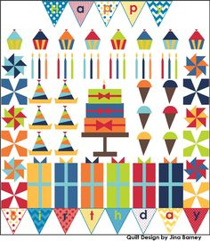 Riley Blake's free block of the month quilt along. The happy birthday quilt...