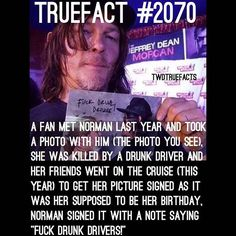 Awwwwwwwwww Yeah I agree! Fuck people who drive drunk! Norman is such a Beautiful Soul with a Heart of Gold The Walking Dead, Walking Dead Facts, Walking Dead Quotes, Twd Memes, Dead Inside, Stuff And Thangs, True Facts, Daryl Dixon, Best Shows Ever