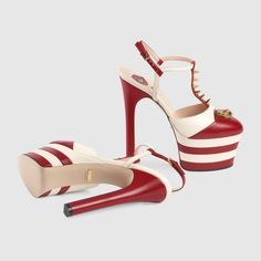 Gucci Women - Gucci Red & White Studded leather platform pumps - $1,100.00