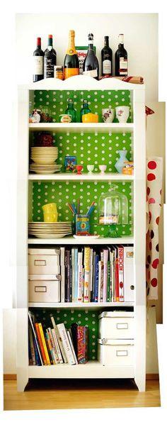 Delightful Kitsch-kitchen cabinet polka dot backed white cabinet