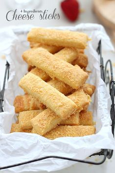 All you need are 4 simple ingredients to have your own flaky, buttery, lightly crunchy cheese sticks. Great to snack on their own or for dipping, these cheese sticks are the perfect addition to your next cheese and wine party or any other occasion.
