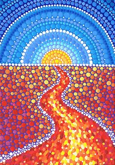 Desert Path by artist Elspeth McLean Dot Art Painting, Mandala Painting, Stone Painting, Elspeth Mclean, Posca Art, Bottle Cap Art, Rainbow Flowers, Mandala Dots, Indigenous Art