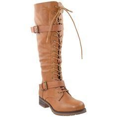 Womens Knee High Lace Up Western Boots Camel