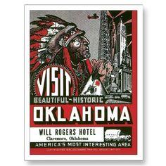 Vintage Oklahoma OK Travel Poster Art Postcard