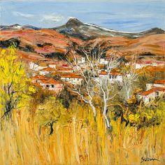 """Jean-Paul SURIN """"Village au pied de l'Etna"""" Huile sur toile 70x70"""