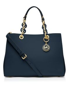 MICHAEL Michael Kors | 'Cynthia' Medium Satchel, Navy.