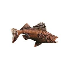 Copper ~ Premium Walleye ~ Lapel Pin / Brooch ~ FC075PR. Hand Sculpted & Hand Cast for Genuine Hand Crafted Quality by American Artisians. Creative Pewter Designs Lapel Pins. Hand Made in the USA. Fine English Lead-Free Pewter. Perfect for Men & Women of all Ages.