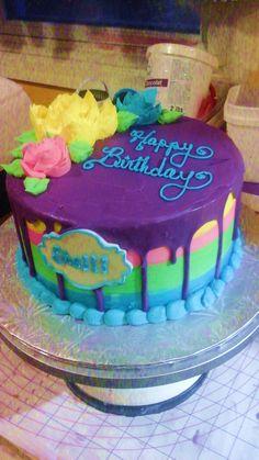 floral drip cake Drip Cakes, Birthday Cake, Floral, Desserts, Food, Florals, Birthday Cakes, Meal, Flowers