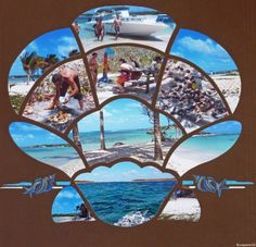 Revenons à la mer, au ciel bleu et au sable doré à Petite-Terre pour le repas de midi. Les restes du poisson grillé ont été dévorés par les Bernard l'Hermite qui pullulent sur cette île. J'ai utilisé un gabarit Artémio et le gabarit décor coquillages...