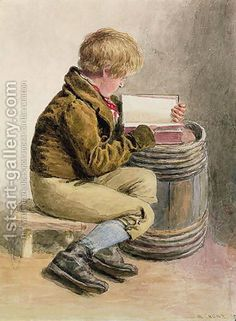 Little boy reading a book William Henry Hunt | Oil Painting Reproduction | 1st-Art-Gallery.com