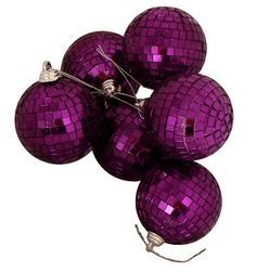 Northlight Seasonal Purple Mirrored Glass Disco Ball Christmas Ornaments