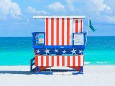Lifeguard hut on beach, South Beach, Miami, Florida, USA Blue Building, Building Exterior, South Beach Miami, Miami Florida, Florida Wallpaper, Surf Lodge, Beach Lifeguard, Site Restaurant, Wall Art Prints