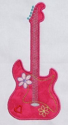 Guitar Diva Applique design 5x7 hoop by DBembroideryDesigns, $3.99
