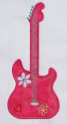 INSTANT DOWNLOAD Guitar Diva Applique by DBembroideryDesigns, $3.99